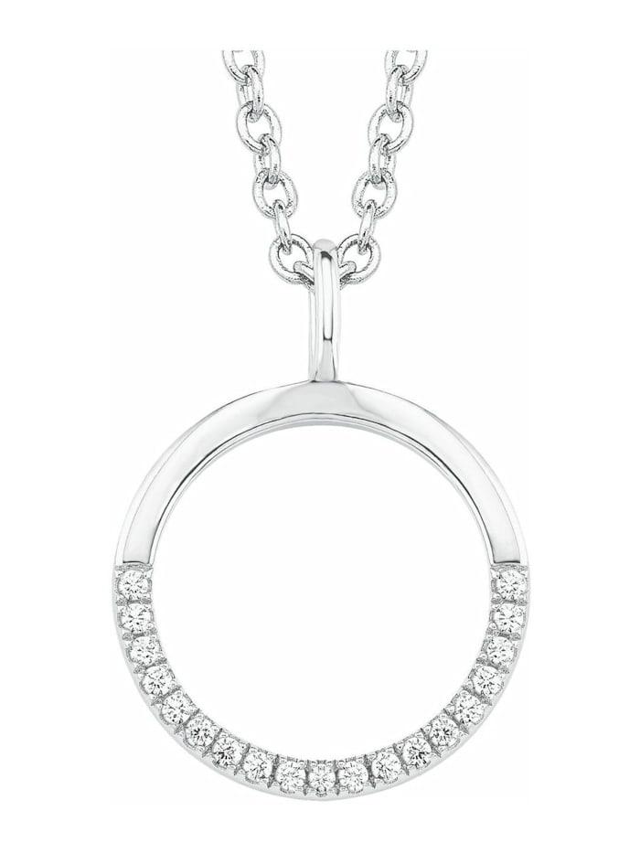 s.Oliver Kette mit Anhänger für Damen, Sterling Silber 925, Zirkonia Kreis, Silber