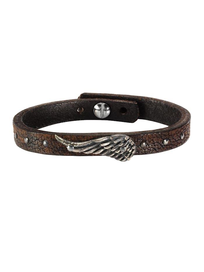 nox Armband Edelstahl 23cm Matt/Glanz, braun