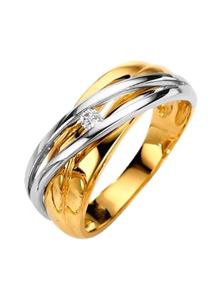 Diemer Highlights Damenring mit Diamant, Gelbgoldfarben/Weißgoldfarben