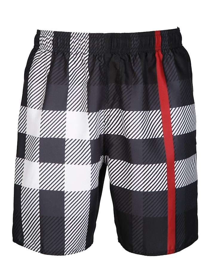 Maritim Zwemshort in trendy design, zwart/wit