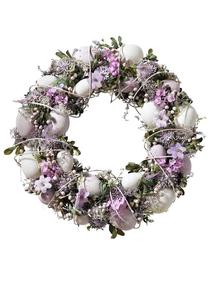 Tewa Kranz mit Eiern und Blüten, lila