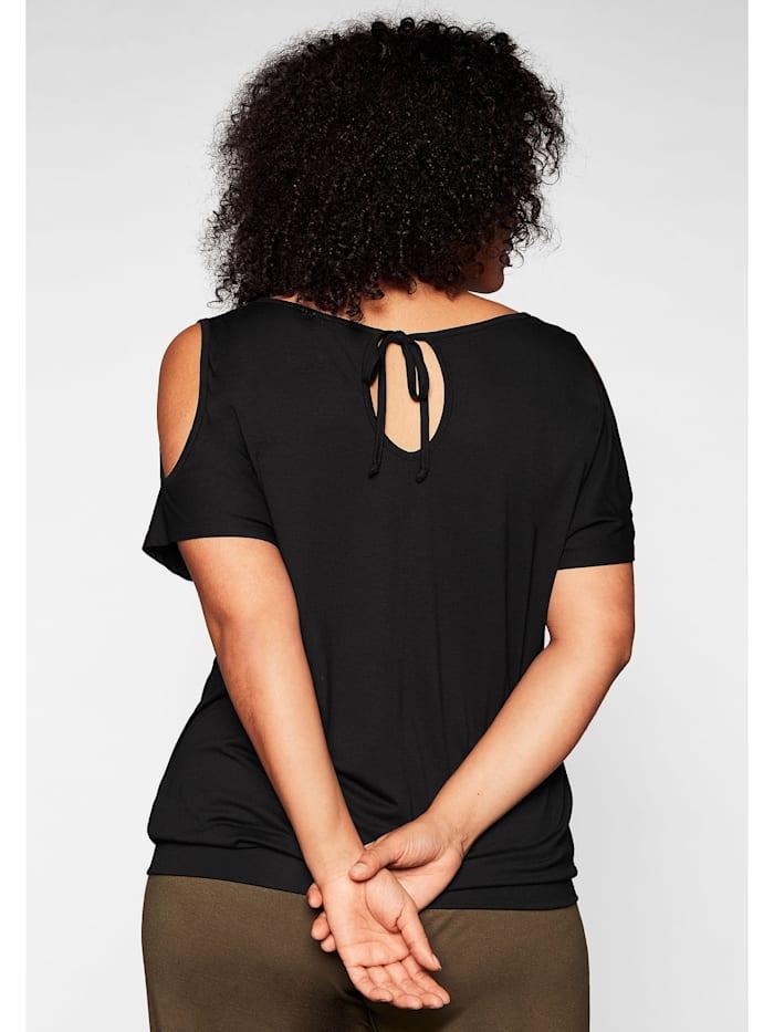 Strandshirt mit Motivdruck und Cut-out am Ärmel