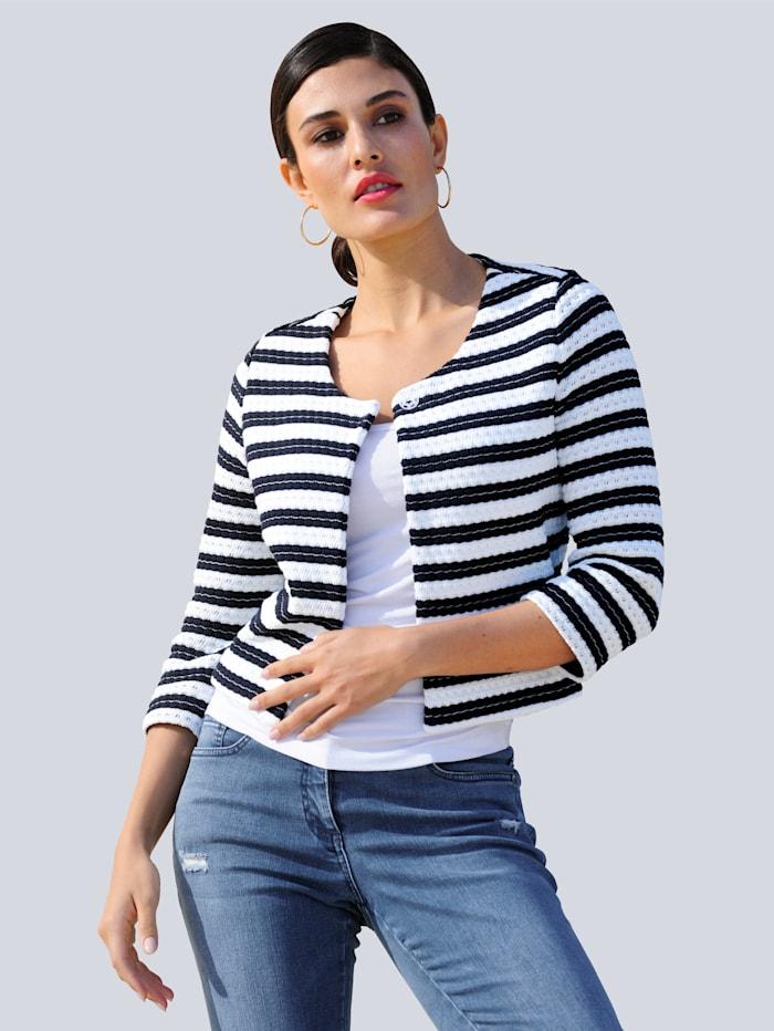 Alba Moda Shirtjacke aus gewirkter Qualität mit Struktur, Marineblau/Weiß