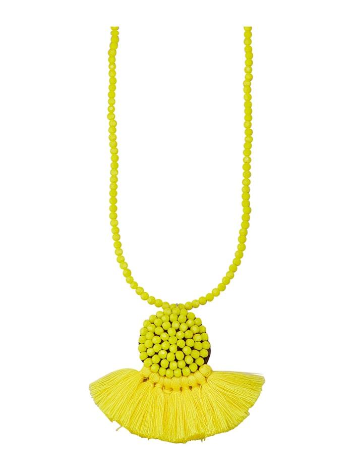 Halskette mit Kristallen, Gelb