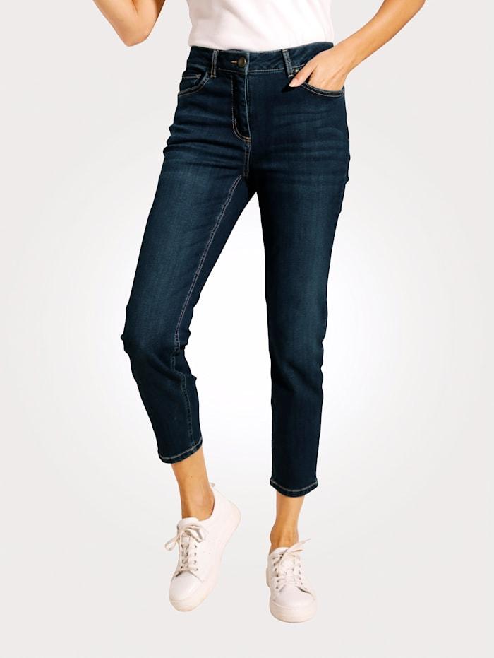 MONA 7/8-jeans met smal toelopende pijpen, Donkerblauw