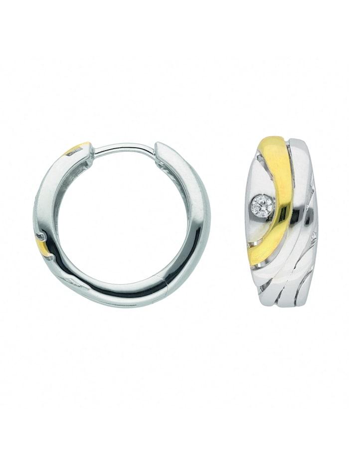 1001 Diamonds Damen Silberschmuck 925 Silber Ohrringe / Creolen mit Zirkonia Ø 16,9 mm, silber