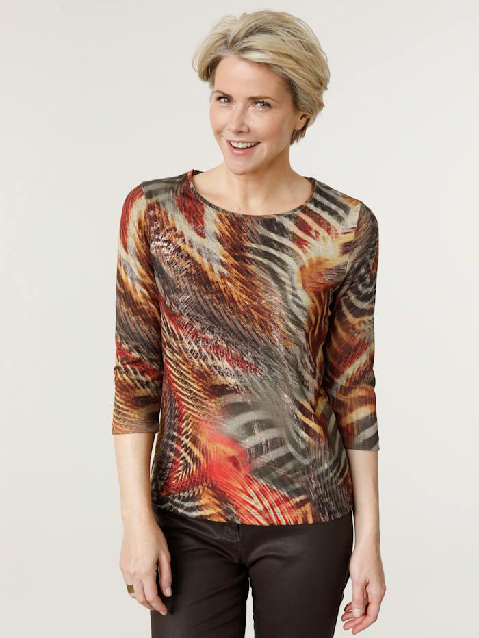 MONA T-shirt à imprimé de grand effet, Brique/Olive/Coloris cuivré