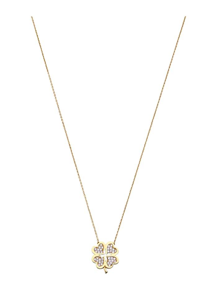 Diemer Gold Collier mit weißen synth. Zirkonia, Gelbgoldfarben