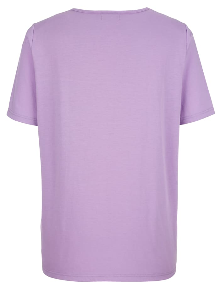 Shirt mit dekorativer Spitze am Ausschnitt