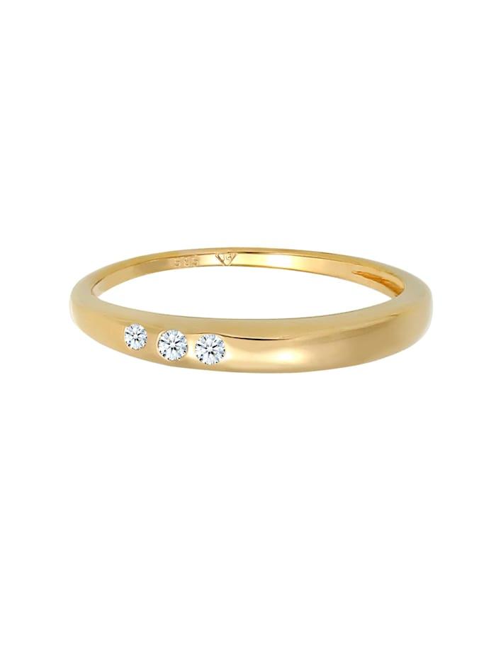 Ring Verlobung Trio Diamant (0.06 Ct.) 585 Gelbgold