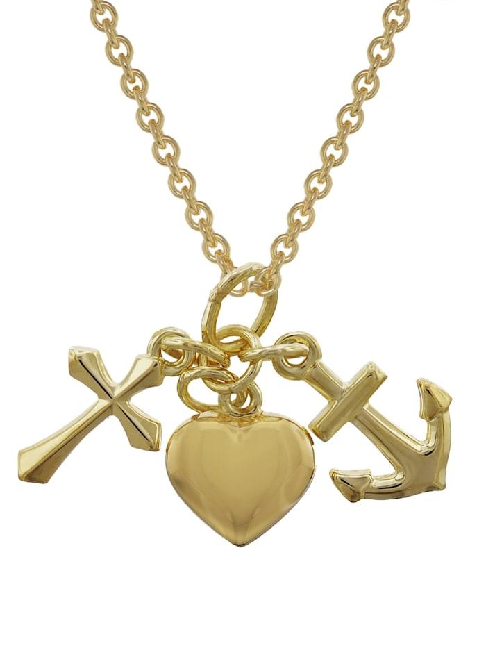 trendor Glaube, Liebe, Hoffnung Gold 333 Anhänger mit vergoldeter Kette, Goldfarben