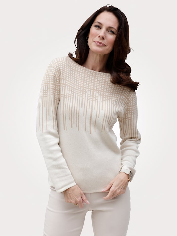 MONA Pullover mit Kontraststreifen, Natur/Beige