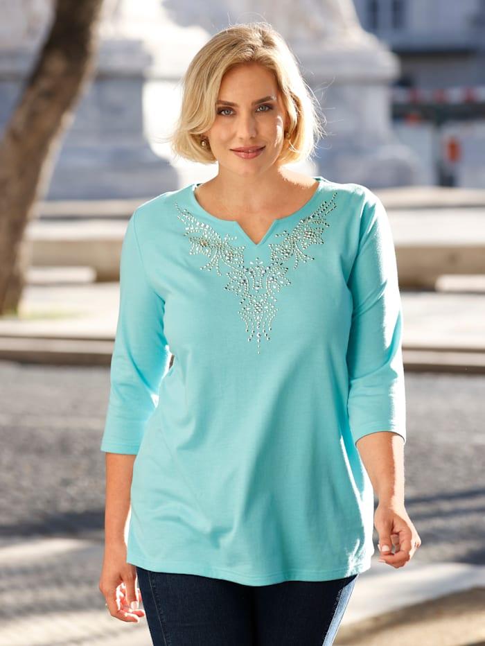 m. collection Shirt mit dekorativen Plättchen, Hellblau
