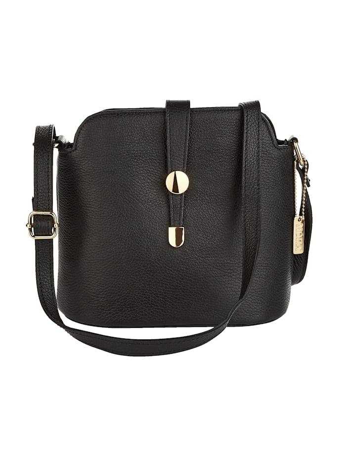 MONA Shoulder bag with elegant clasp, Black