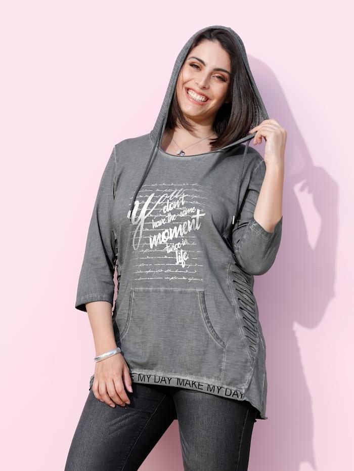 MIAMODA Shirt in Oil Dyed Optik, Grau