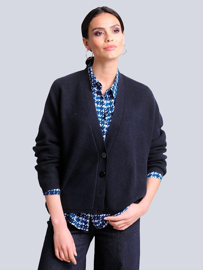 Alba Moda Strickjacke aus hochwertiger reiner Kaschmirqualität, Marineblau