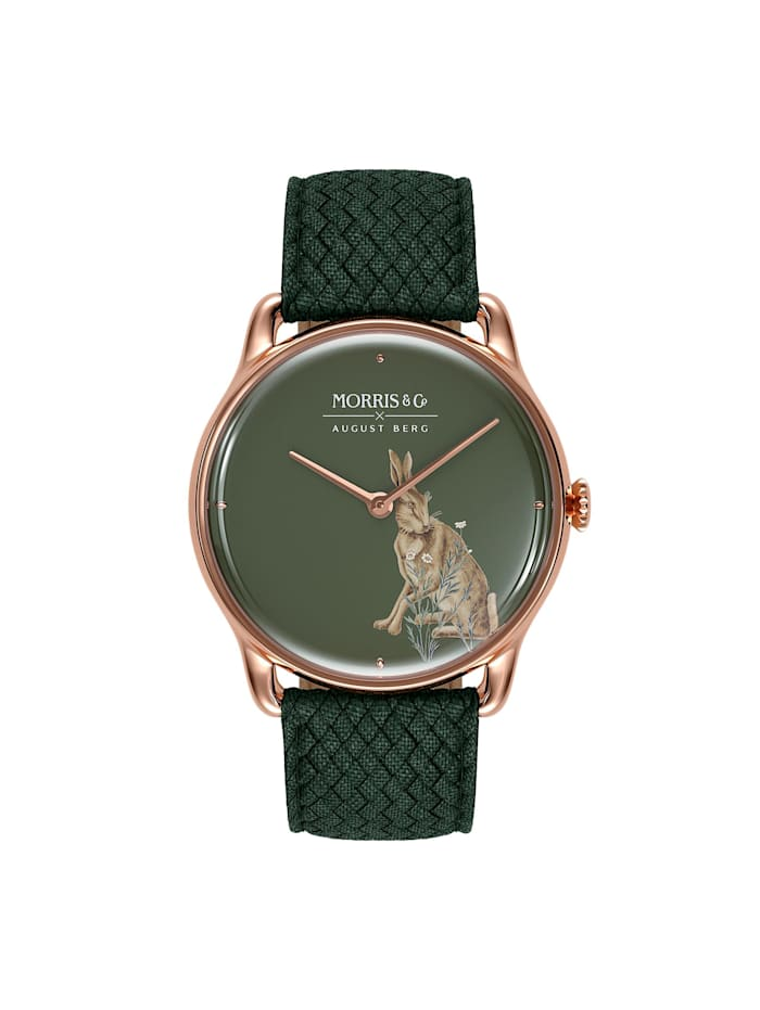 August Berg Uhr MORRIS & CO Rose Gold Green Perlon 38mm, crimson