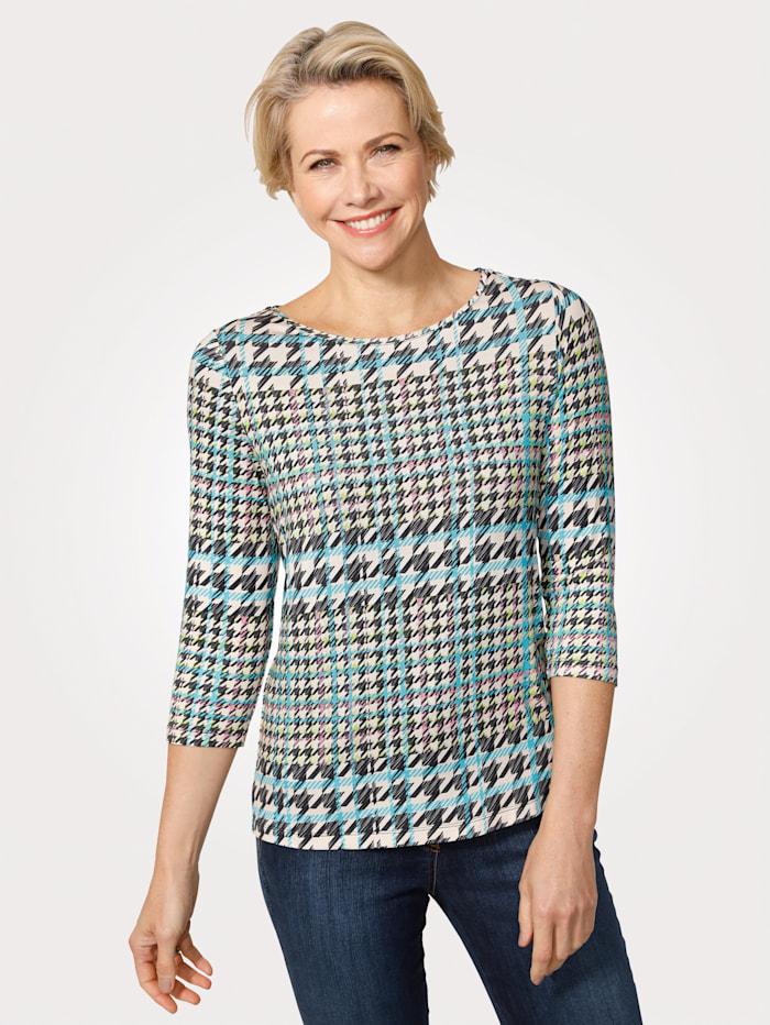 MONA Shirt mit platziertem Glencheck-Druck, Ecru/Türkis/Multicolor