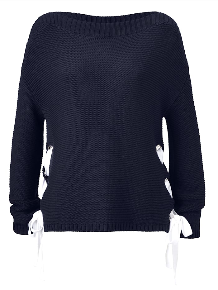 Pullover kontrastfarbene Schnürung an den Seiten