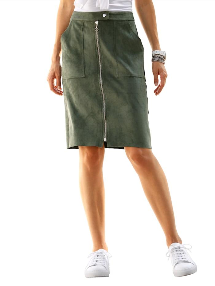Dress In Jupe en cuir synthétique d'aspect daim, Olive