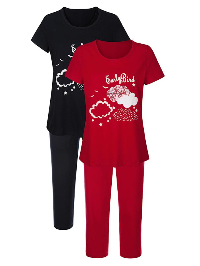 Blue Moon Pyjama's per 2 stuks met witte paspel langs de pijpen, Rood/Marine/Wit