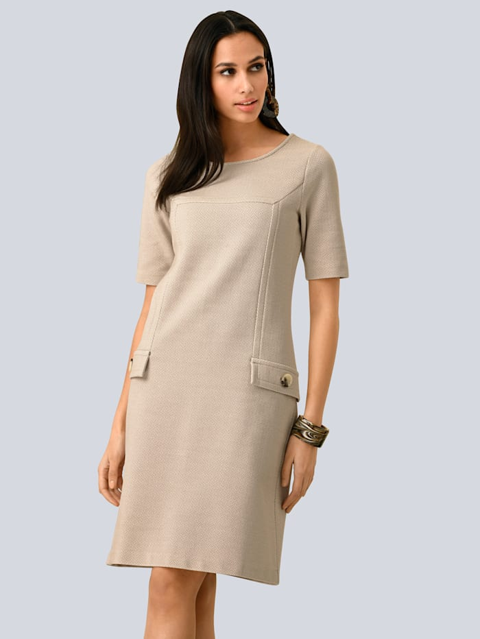 Alba Moda Kleid aus strukturierter Ware, Beige