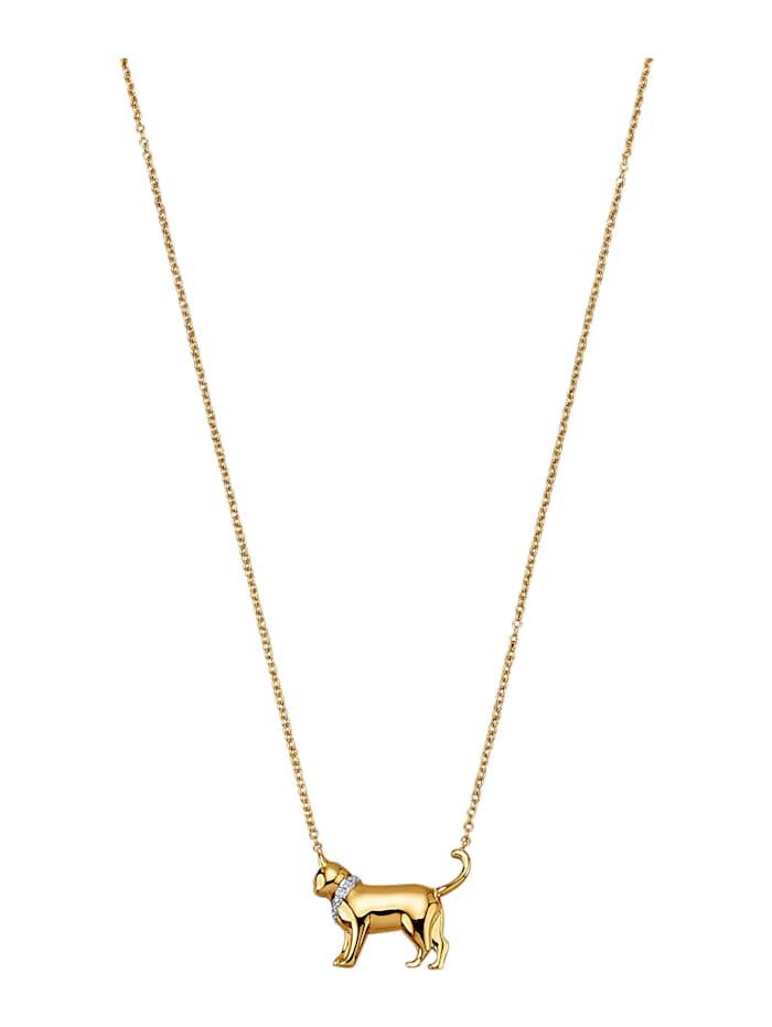 "Amara Or Collier ""Chat"" à 5 diamants, Coloris or jaune"