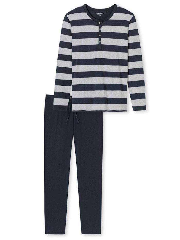 Schiesser Pyjama mit Knopfleiste Ökotex zertifiziert, dunkelblau