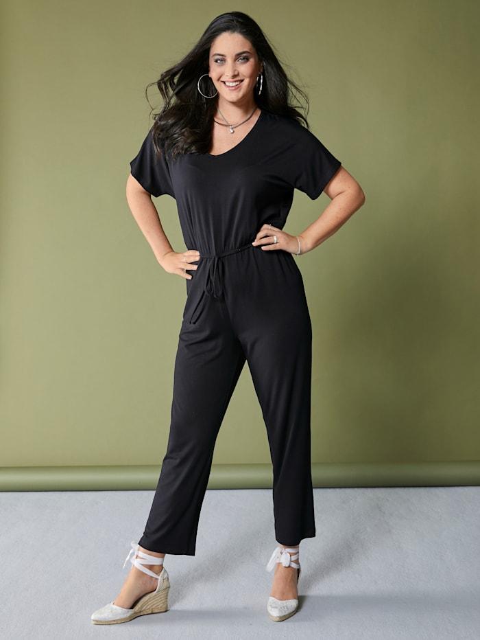 MIAMODA Jumpsuit met elastische band en bindbandje in de taille, Zwart