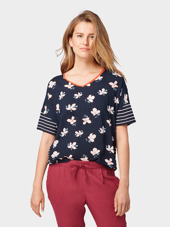 Tom Tailor T-Shirt im Muster-Mix, navy flower design