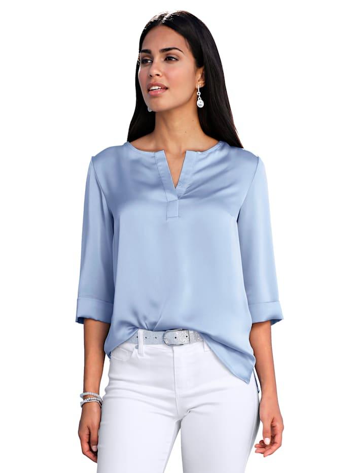AMY VERMONT Bluse in weich fließender Crèpe-Qualität, Hellblau
