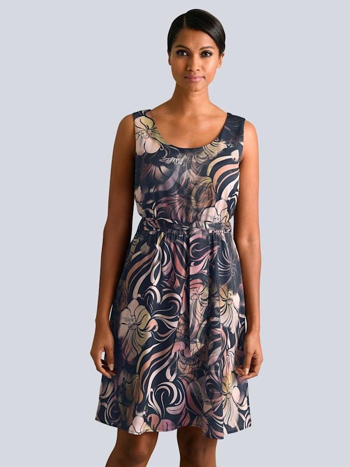 Alba Moda Kleid in tollem floralem Dessin, Blau/Pink/Oliv