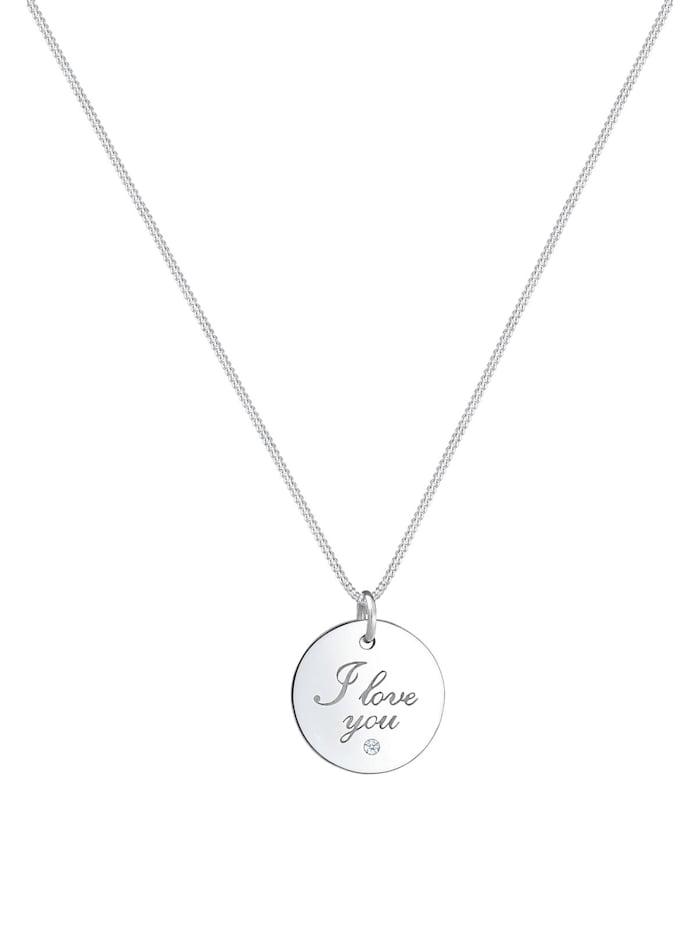 Halskette I Love You Wording Diamant (0.02 Ct) 925 Silber