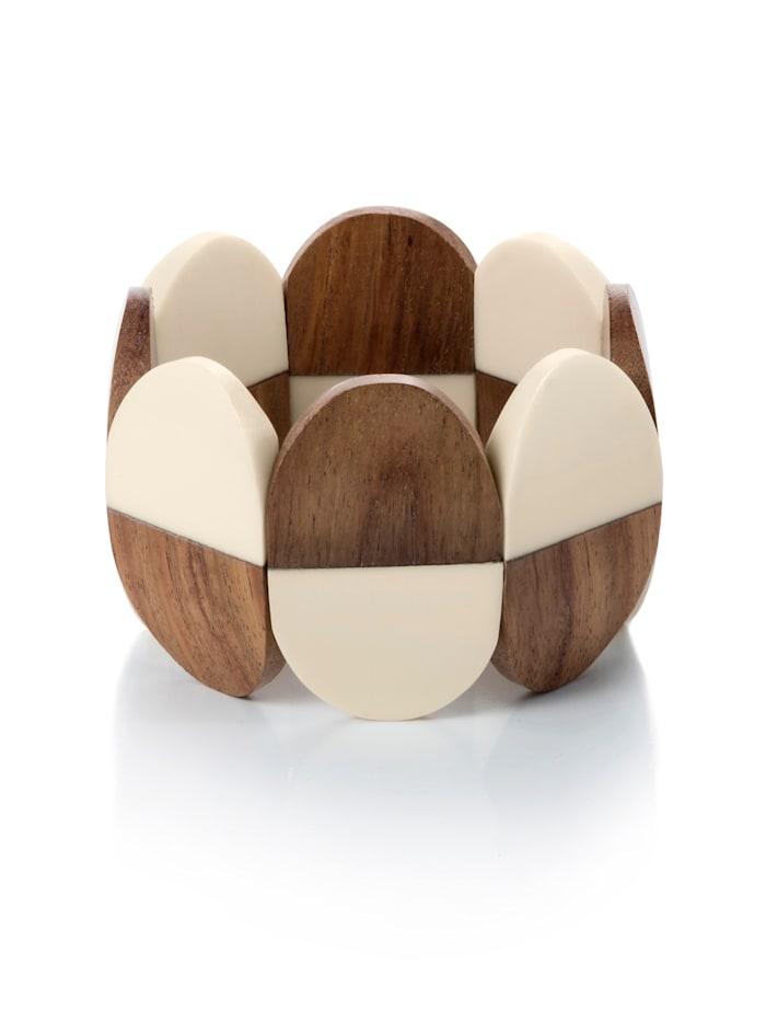 Alba Moda Armband mit elastischem Band, Beige/Braun