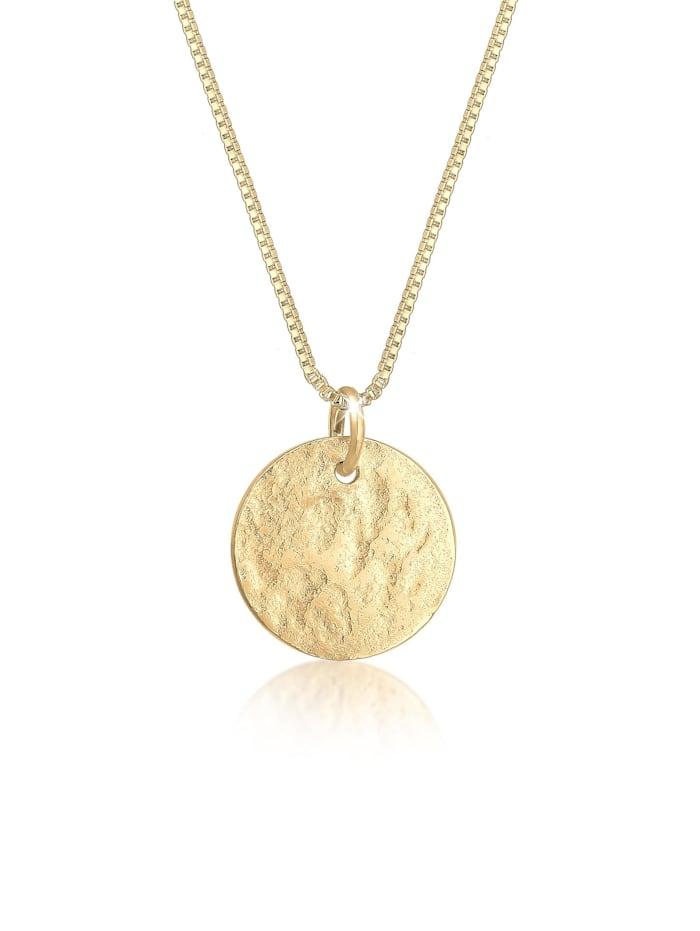 Elli Halskette Plättchen Box Chain Vintage Antique 925 Silber, Gold