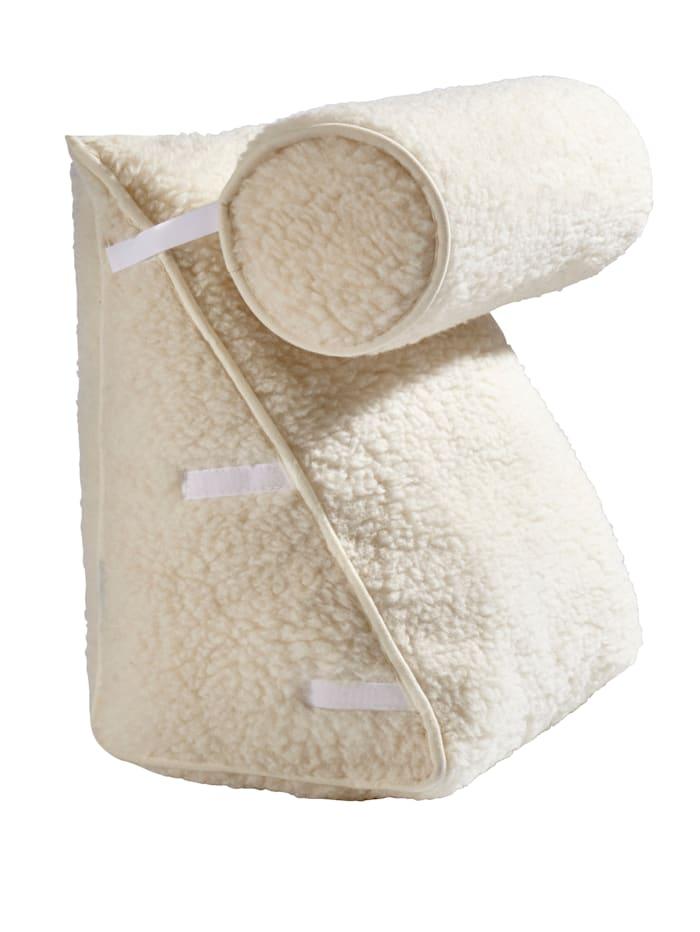 K & N Schurwolle Schurwoll-Rückenkissen mit Nackenkissen, Beige