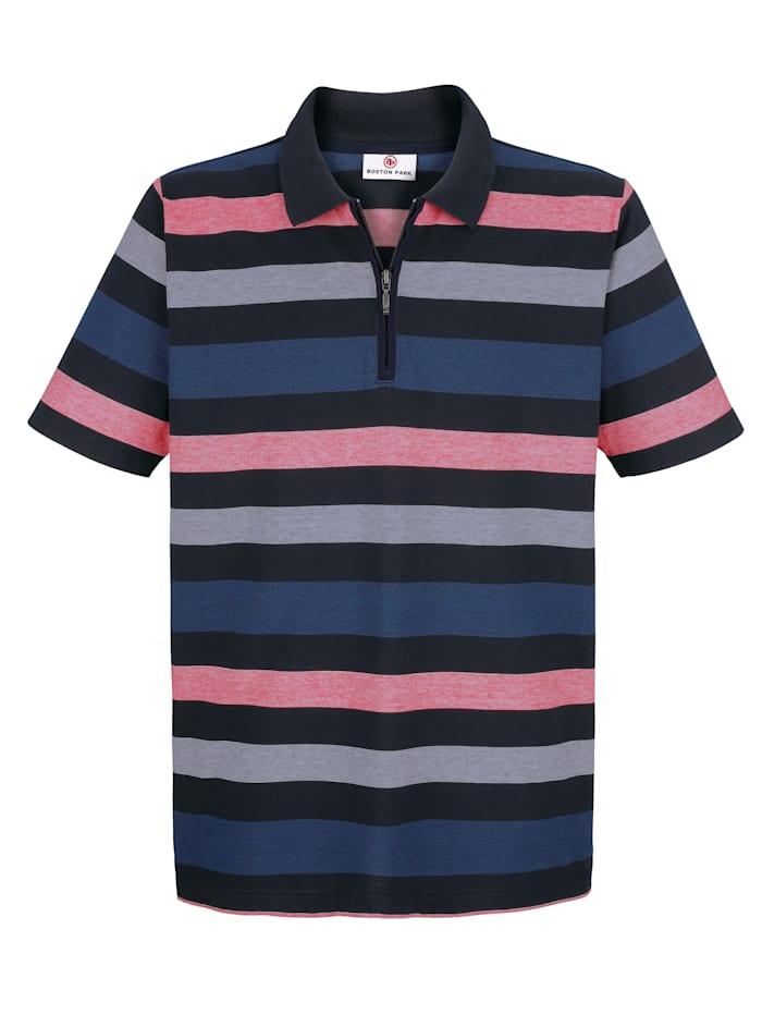 Boston Park Raidallinen paita, Laivastonsininen/Punainen/Harmaa