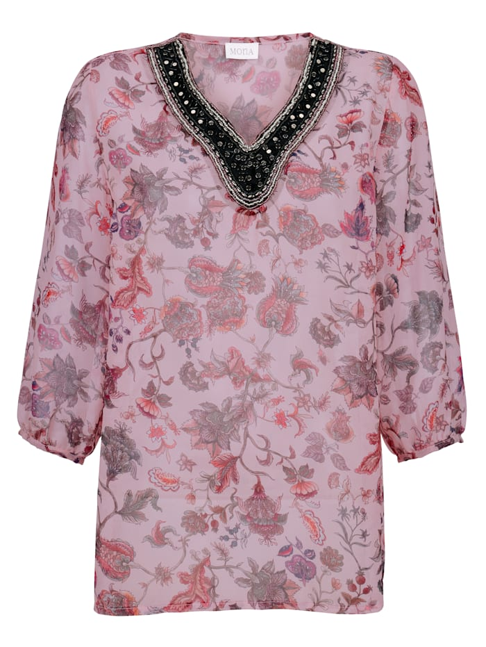 Pull-on blouse with beaded detailing