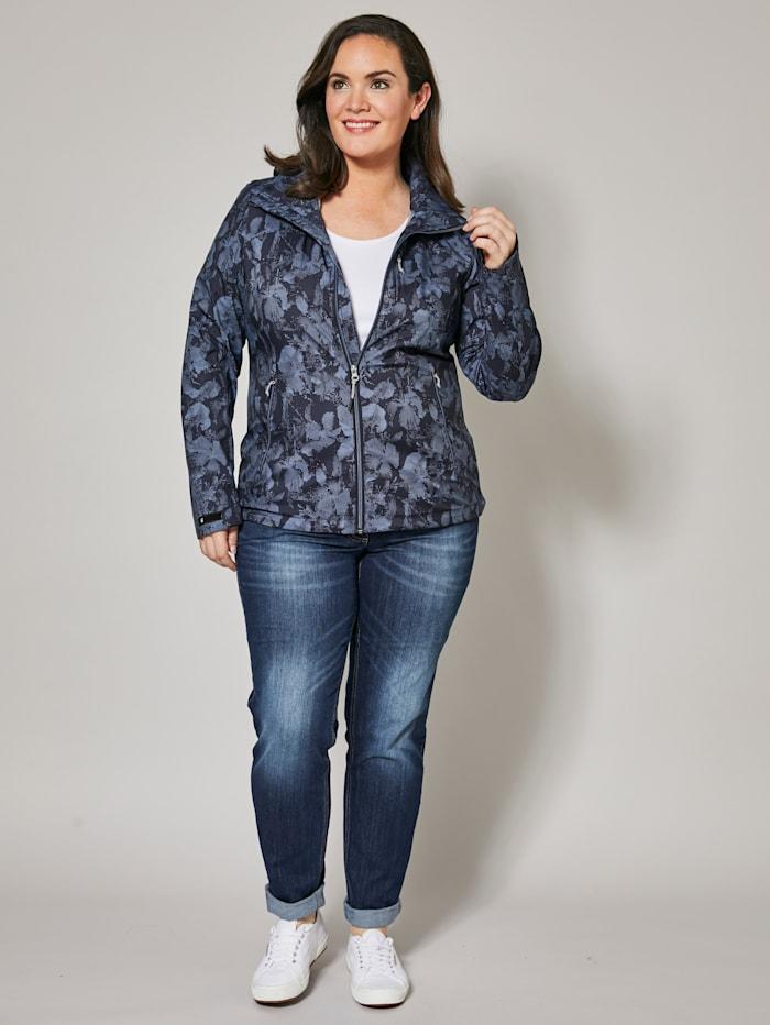 Killtec Softshell-Jacke mit Blumen-Print und Kapuze, Marineblau