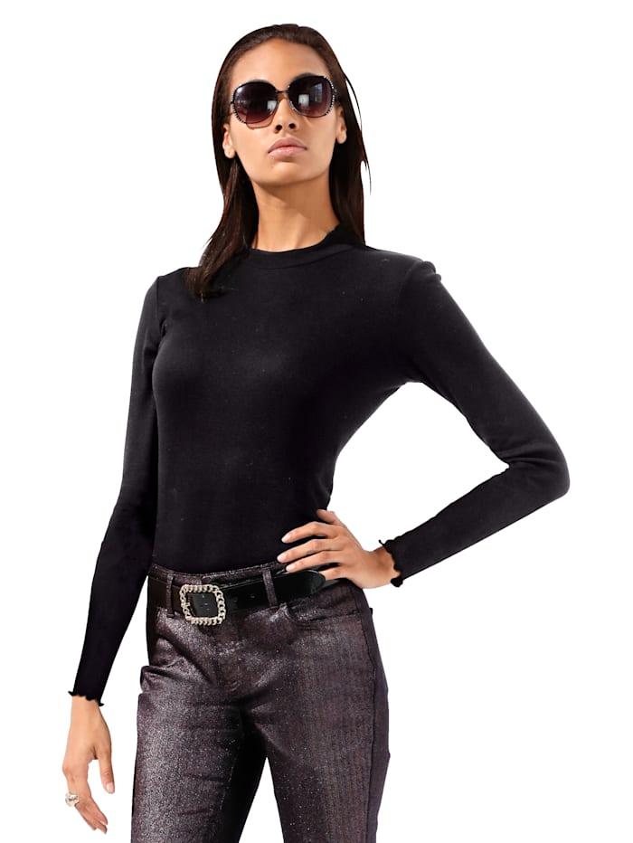 AMY VERMONT Shirt van geribd materiaal, Zwart