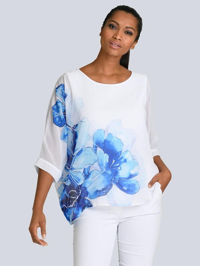 Alba Moda Bluse unterlegt mit Jersey, Weiß/Blau