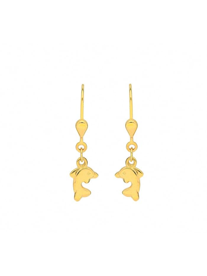 1001 Diamonds Damen Goldschmuck 333 Gold Ohrringe / Ohrhänger Delphin, gold