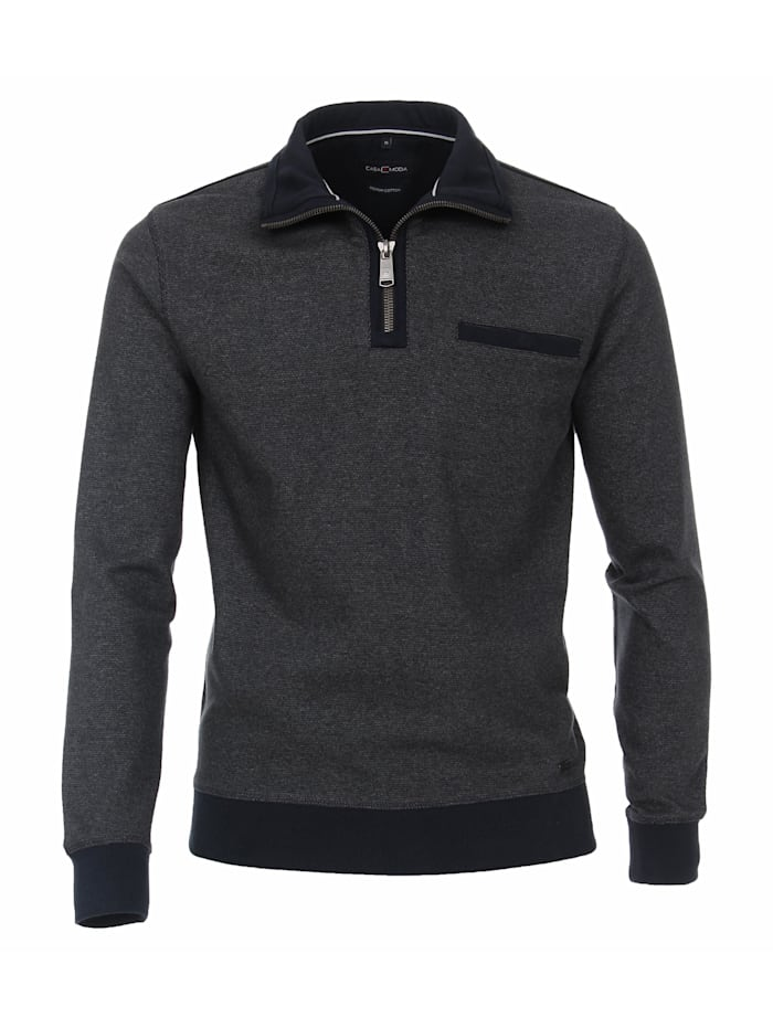 CASAMODA Sweat-Troyer andere Muster, graues Dunkelblau