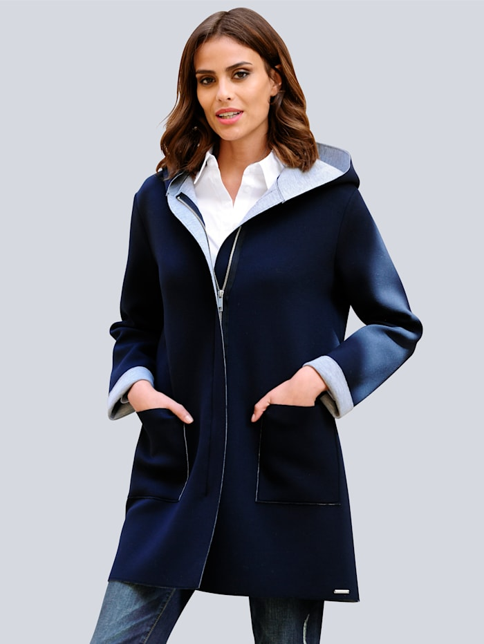 Alba Moda Jacke in Longform, Marineblau/Grau