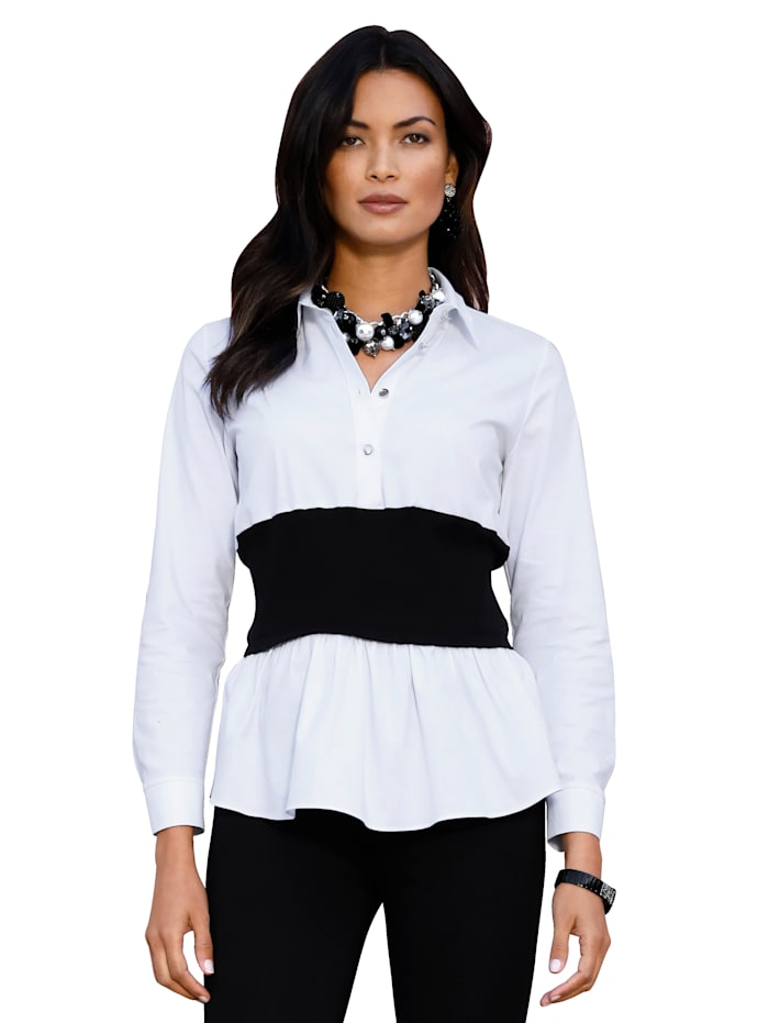 AMY VERMONT Bluse mit Taillenband aus Rippe, Weiß/Schwarz