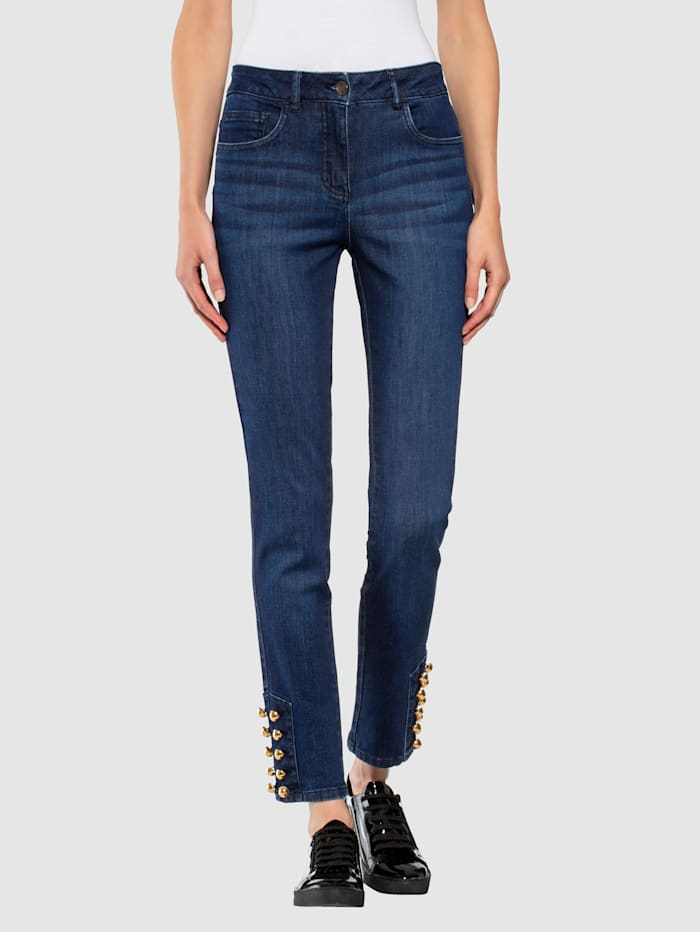 Alba Moda Jean à boutons fantaisie au bas de jambe, Bleu
