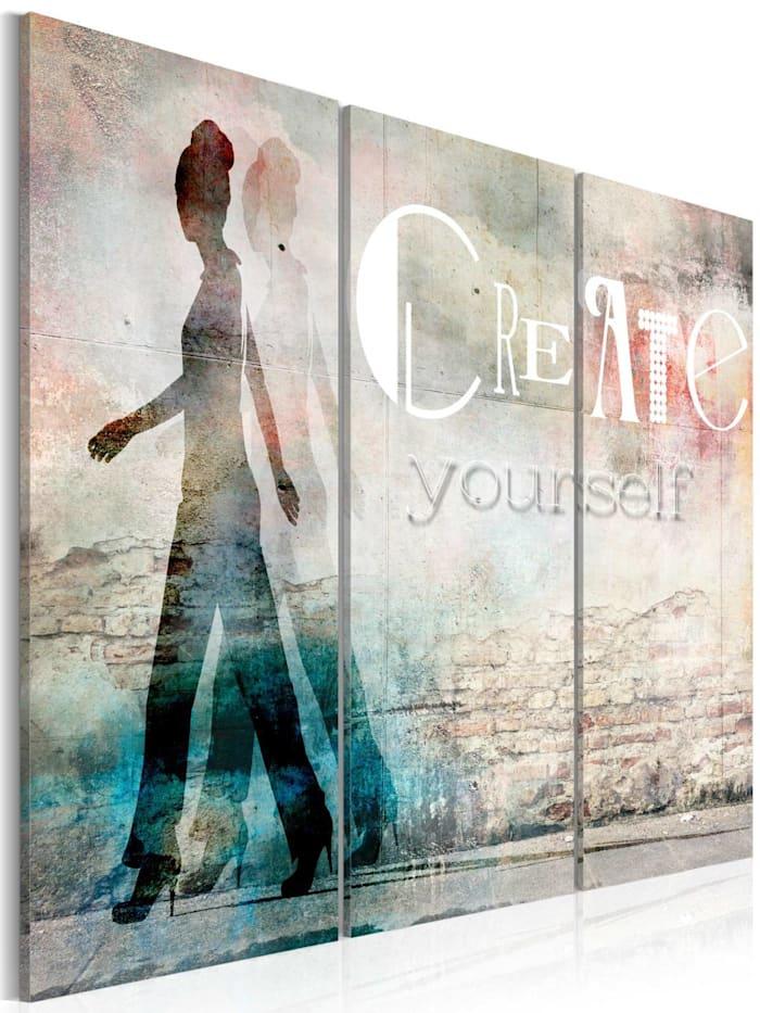artgeist Wandbild Create yourself - triptych, Blau,Grün,Grau,Rot,Weiß