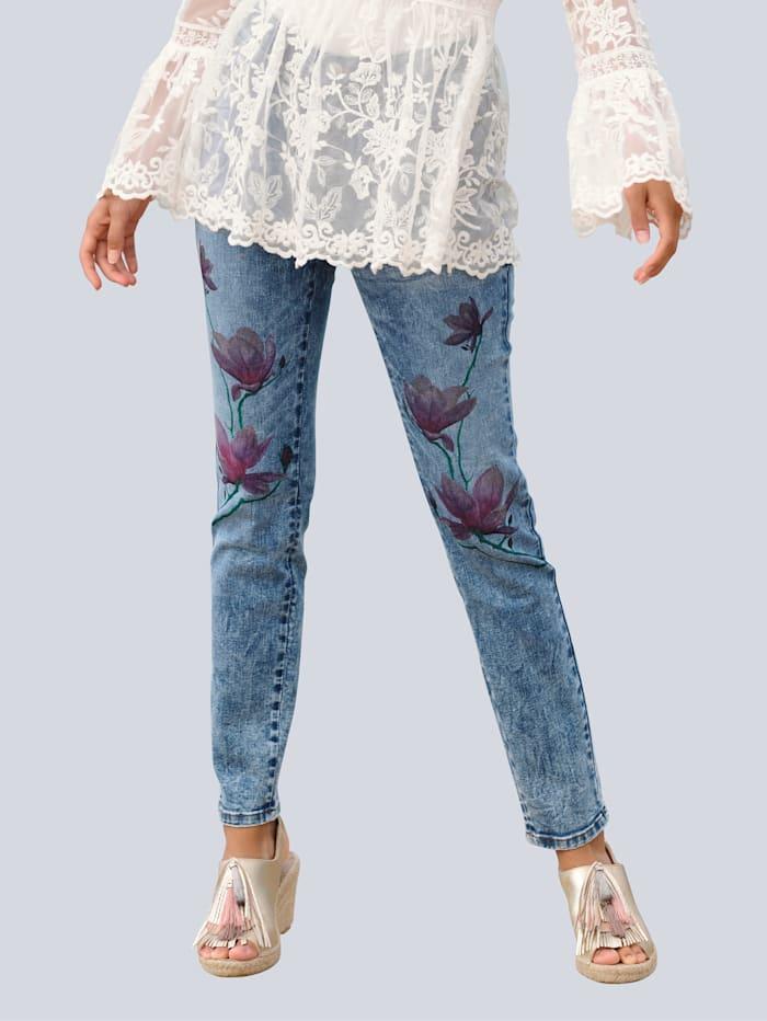 Alba Moda Strandhose mit Blumenmotiv, Blue stone