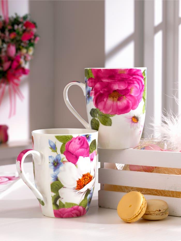 Ritzenhof & Breker Lot de 2 tasses à café 'Rose', Multicolore