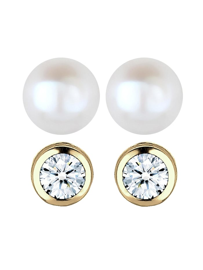 Ohrringe Diamant (0.06 Ct) Süßwasserzuchtperle 375 Gelbgold